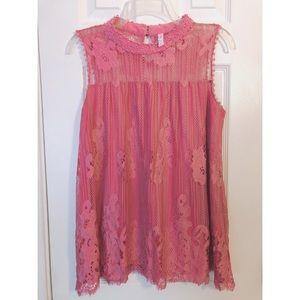Xhilaration Pink Sleeveless Lace Blouse Sz L